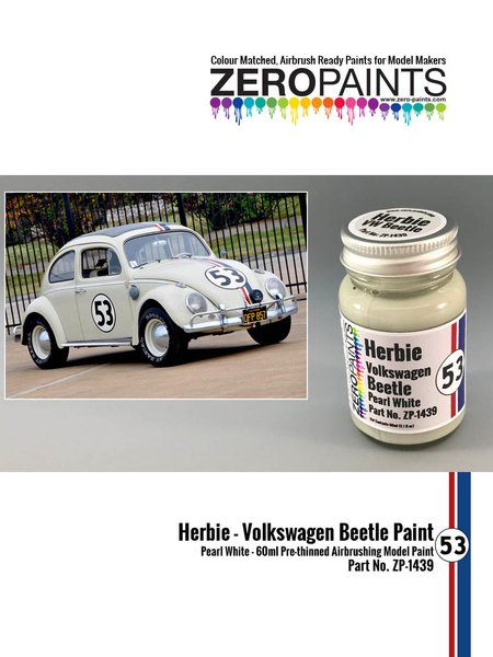 Herbie #53 Volkswagen Beetle white | Paint manufactured by Zero Paints (ref. ZP-1439) image