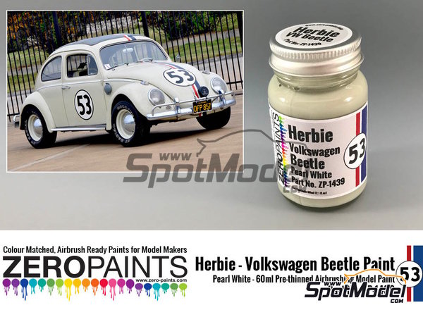 Image 1: Herbie #53 Volkswagen Beetle white | Paint manufactured by Zero Paints (ref.ZP-1439)