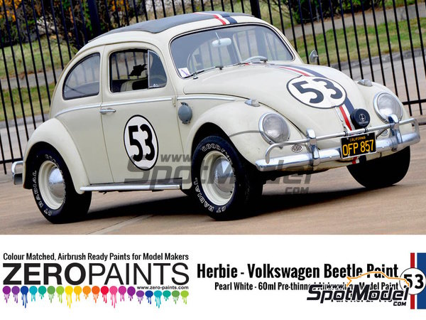 Image 2: Herbie #53 Volkswagen Beetle white | Paint manufactured by Zero Paints (ref. ZP-1439)