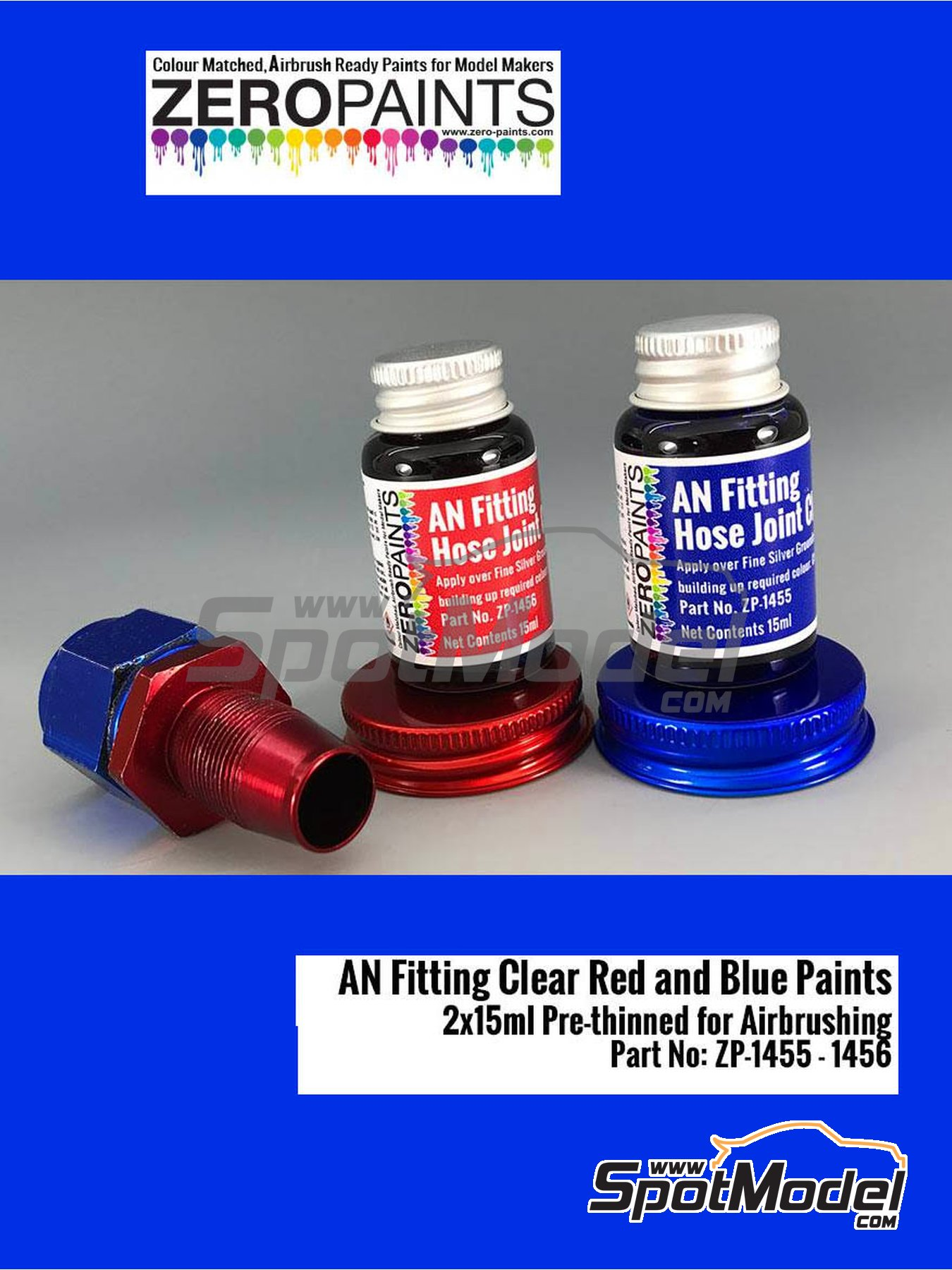 AN fitting clear blue and red - 2 x 30ml | Paint manufactured by Zero Paints (ref. ZP-1455-1456) image