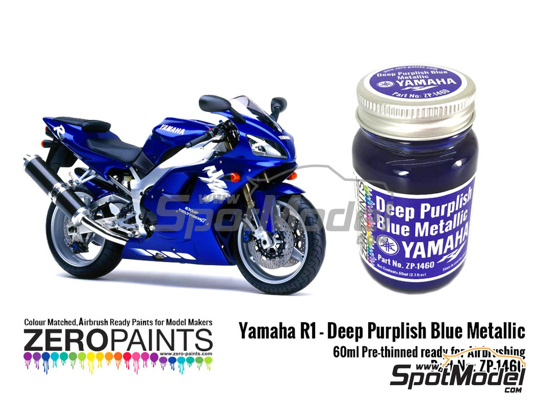 Image 1: Yamaha R1 Deep purplish blue metallic - 60ml | Paint manufactured by Zero Paints (ref. ZP-1460)