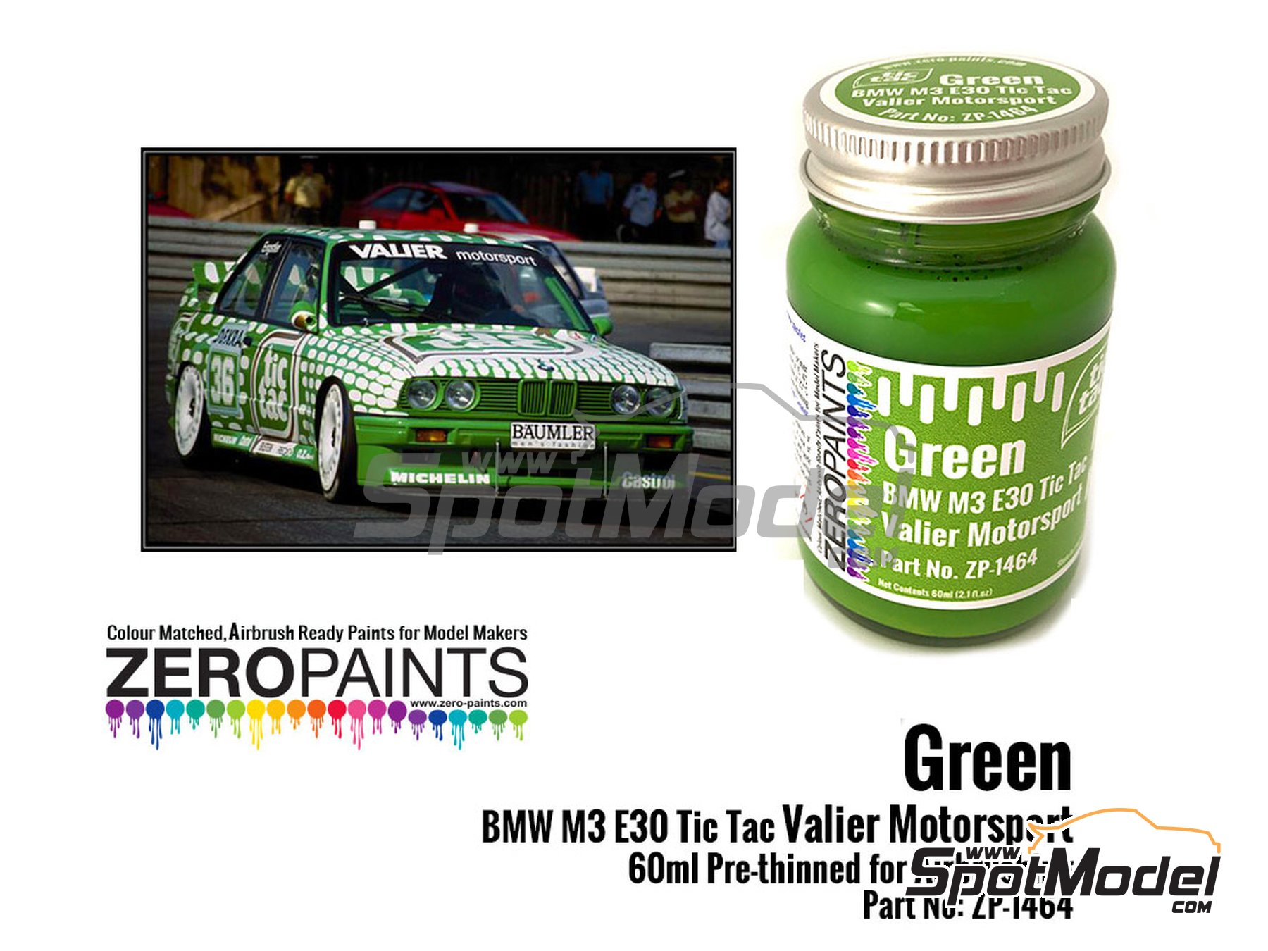 Image 1: Green BMW M3 E30 Tic Tac Valier Motorsport | Paint manufactured by Zero Paints (ref. ZP-1464)