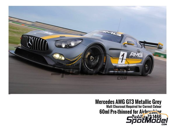 Image 1: Designo Selenit Magno Mercedes Benz AMG GT3 metallic grey - 1 x 60ml | Paint manufactured by Zero Paints (ref. ZP-1466)