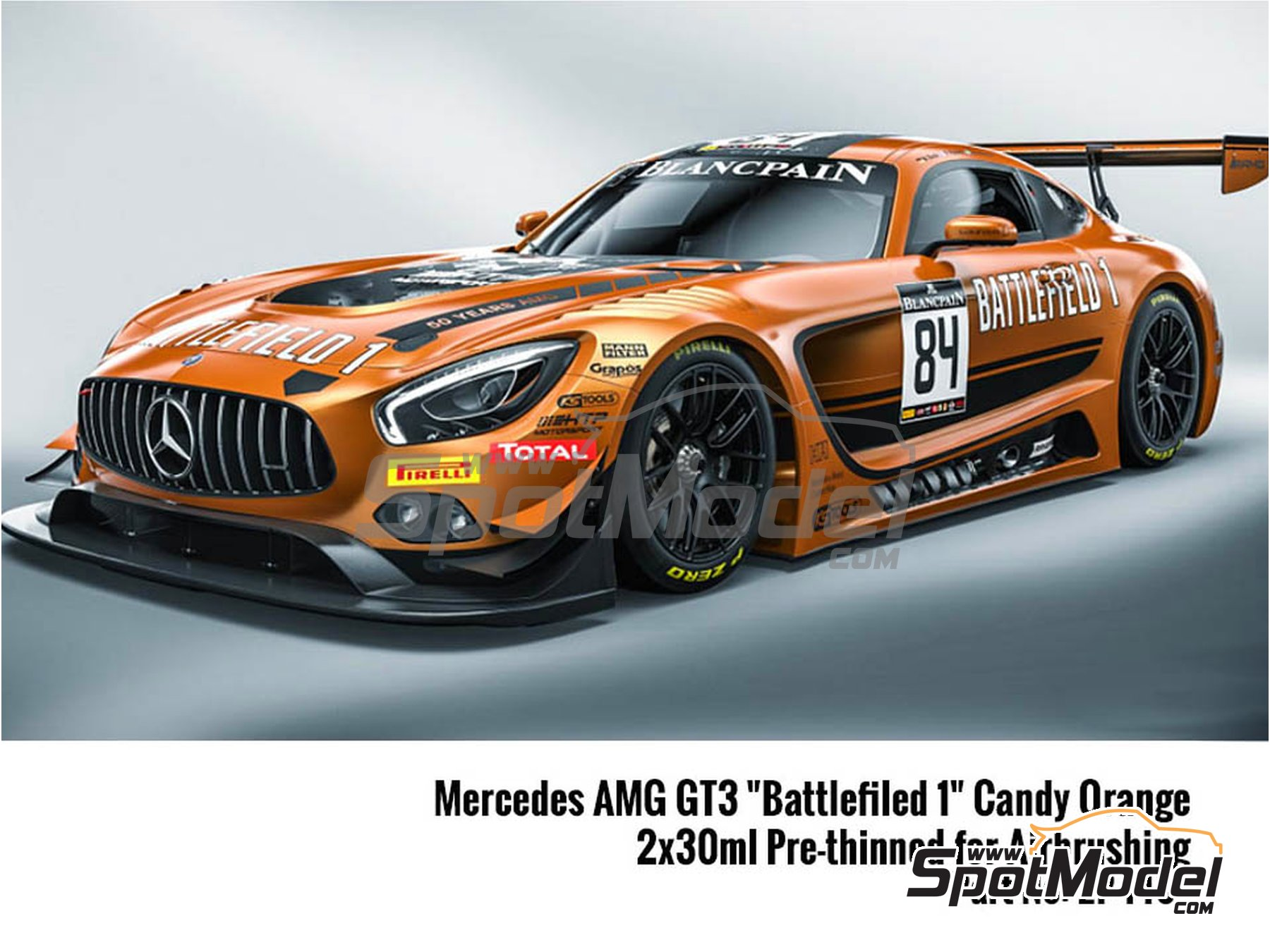 Image 1: Mercedes Benz AMG GT3 candy orange - 2 x 30ml Battlefield 1 | Paints set manufactured by Zero Paints (ref. ZP-1467)