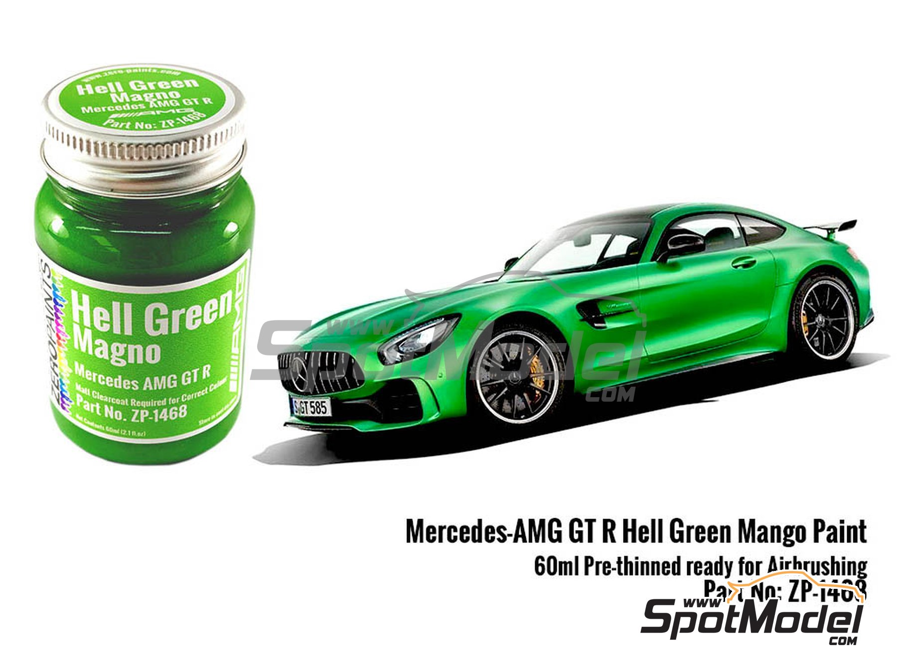 Image 1: Mercedes Benz AMG GT R Green Hell Mango - 60ml | Paint manufactured by Zero Paints (ref. ZP-1468)