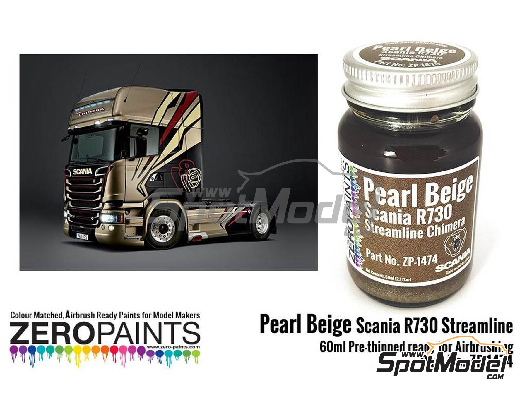 Image 1: Pearl beige for Scania R730 Streamline - 1 x 60ml | Paint manufactured by Zero Paints (ref.ZP-1474)