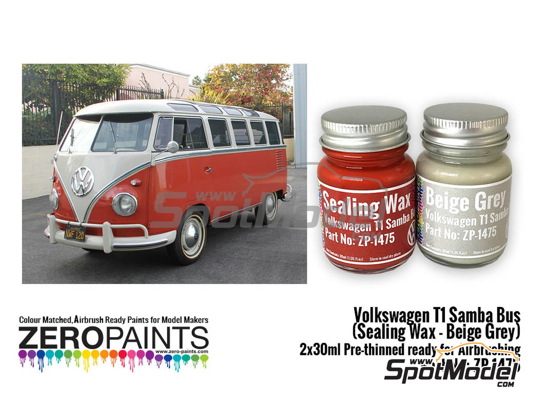 Image 1: Volkswagen T1 Samba Bus | Paints set manufactured by Zero Paints (ref. ZP-1475)