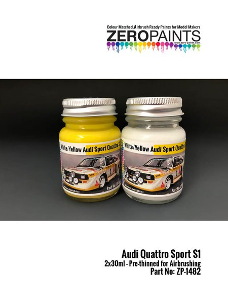 Audi Quattro Sport S1 yellow and white | Paints set manufactured by Zero Paints (ref. ZP-1482) image