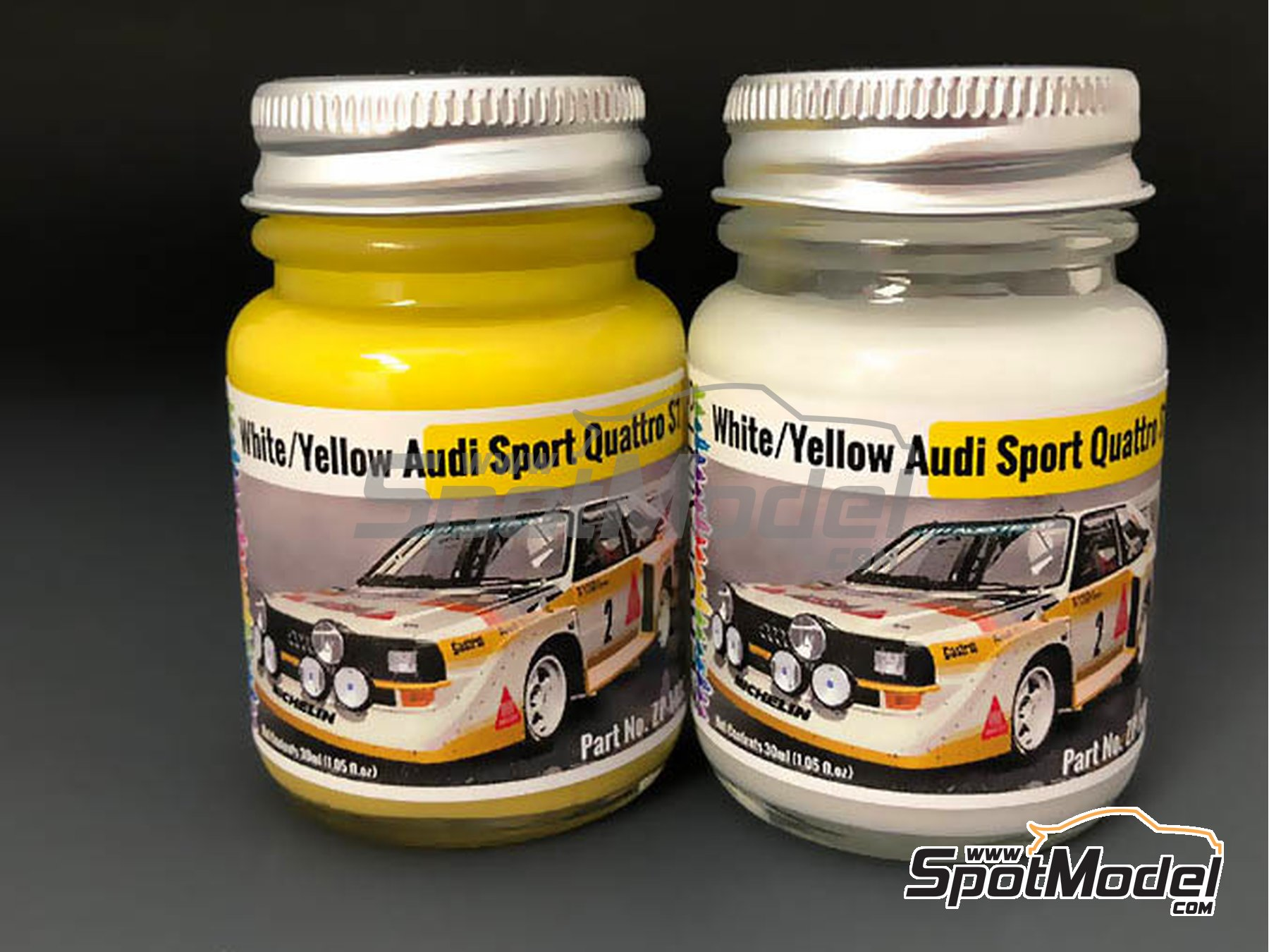 Image 1: Audi Quattro Sport S1 yellow and white | Paints set manufactured by Zero Paints (ref. ZP-1482)