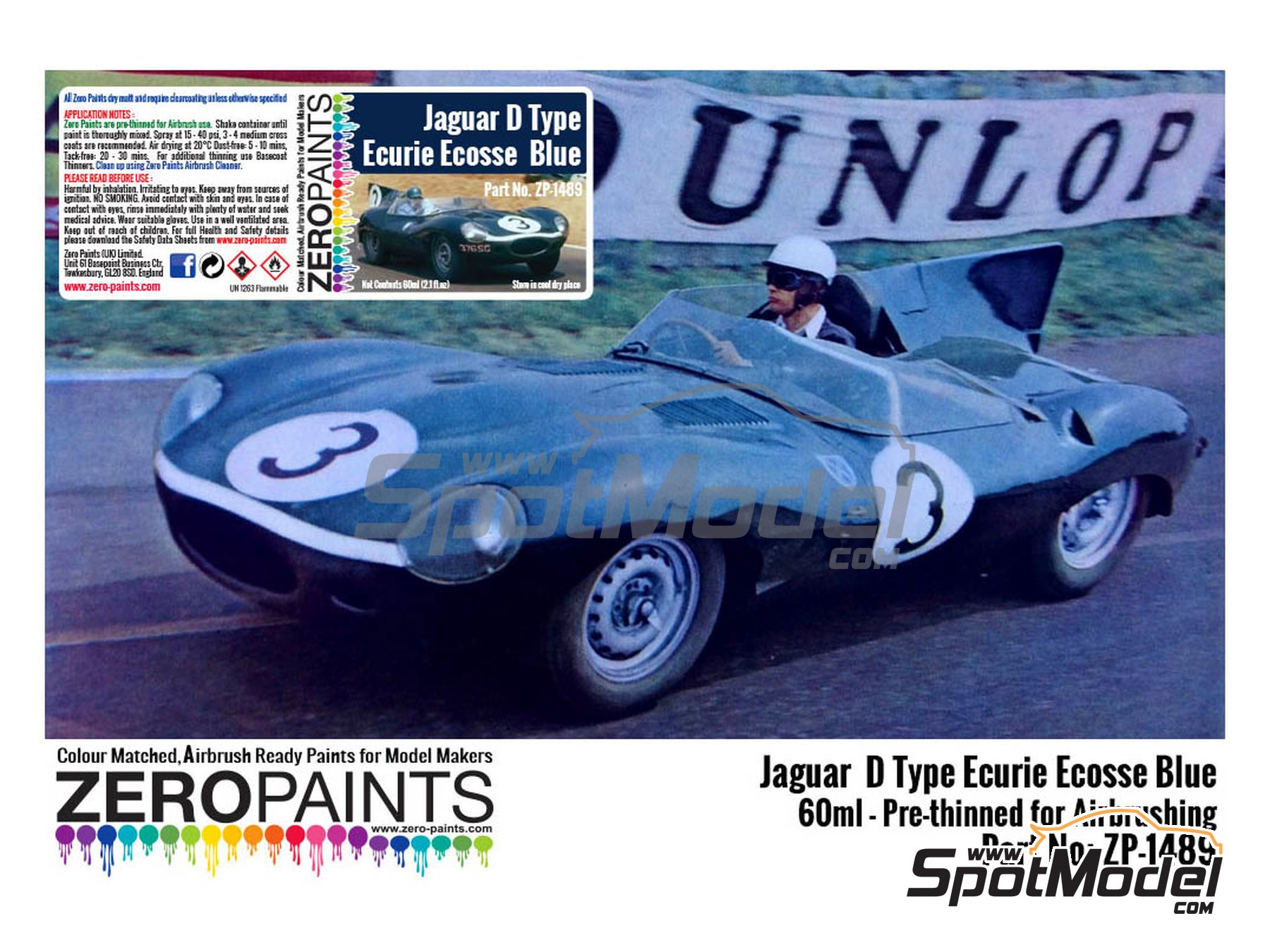 Image 1: Jaguar D type Ecurie Ecosse blue Ecurie Ecosse | Paint manufactured by Zero Paints (ref. ZP-1489)