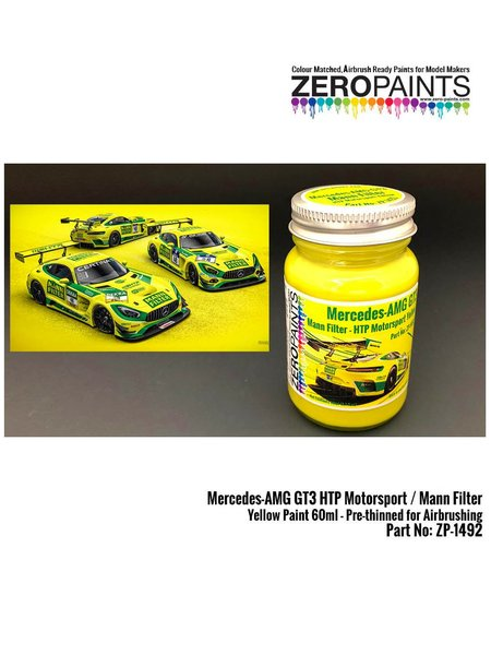 Mercedes-AMG GT3 HTP Motorsport / Mann Filter Yellow Paint - 1 x 60ml | Paint manufactured by Zero Paints (ref. ZP-1492) image