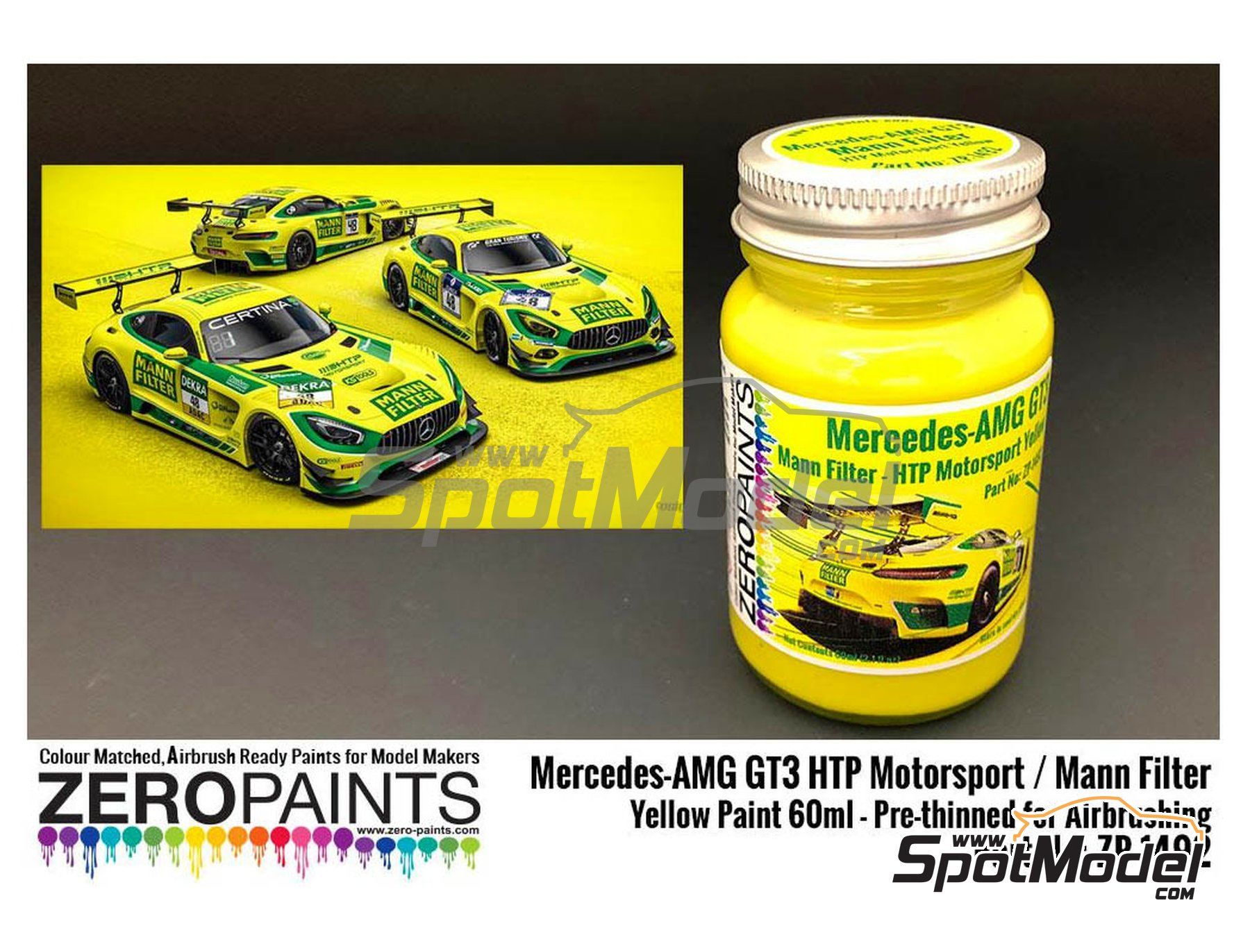 Image 1: Mercedes-AMG GT3 HTP Motorsport / Mann Filter Yellow Paint - 1 x 60ml | Paint manufactured by Zero Paints (ref. ZP-1492)