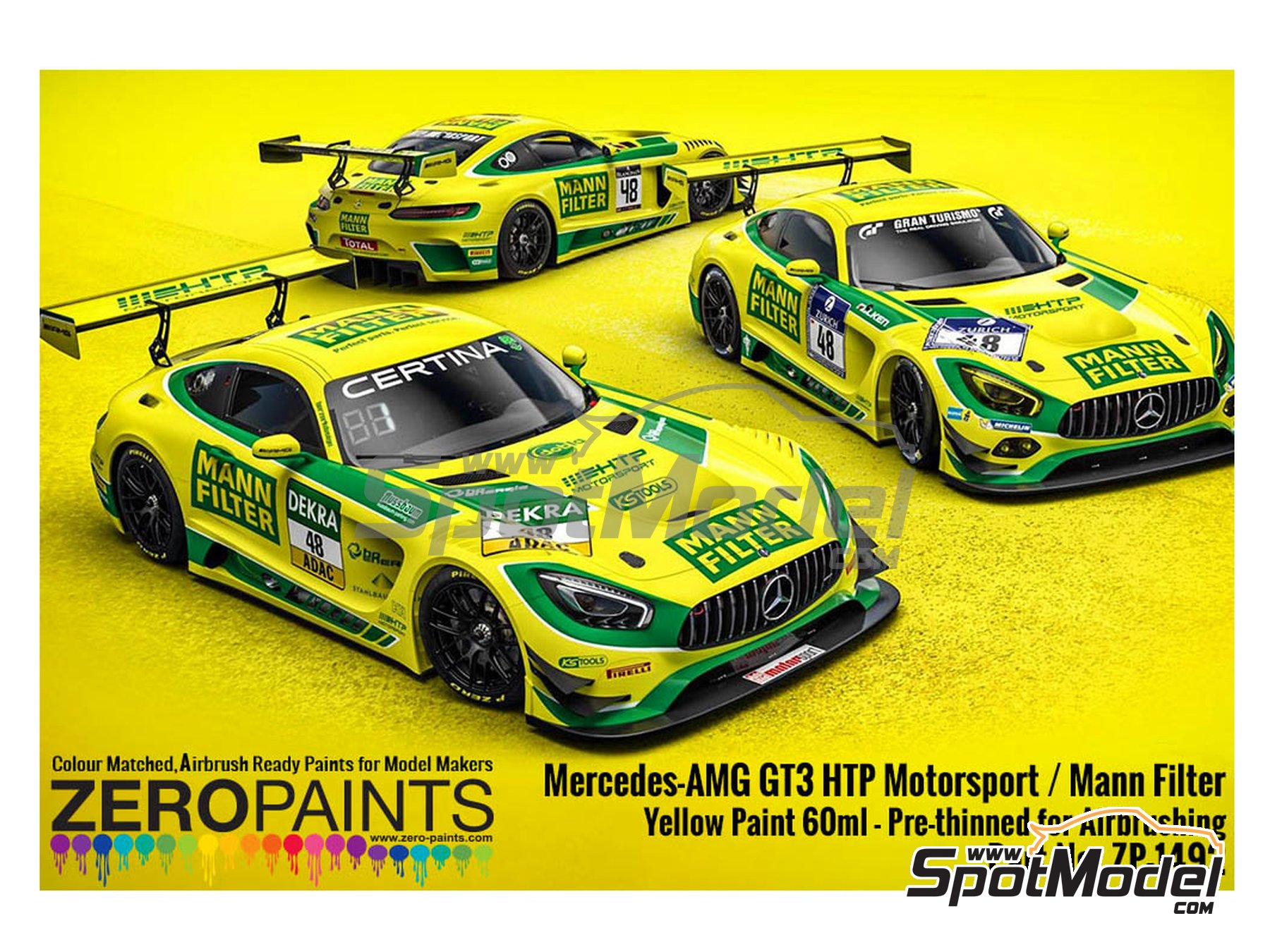 Image 2: Mercedes-AMG GT3 HTP Motorsport / Mann Filter Yellow Paint - 1 x 60ml | Paint manufactured by Zero Paints (ref. ZP-1492)