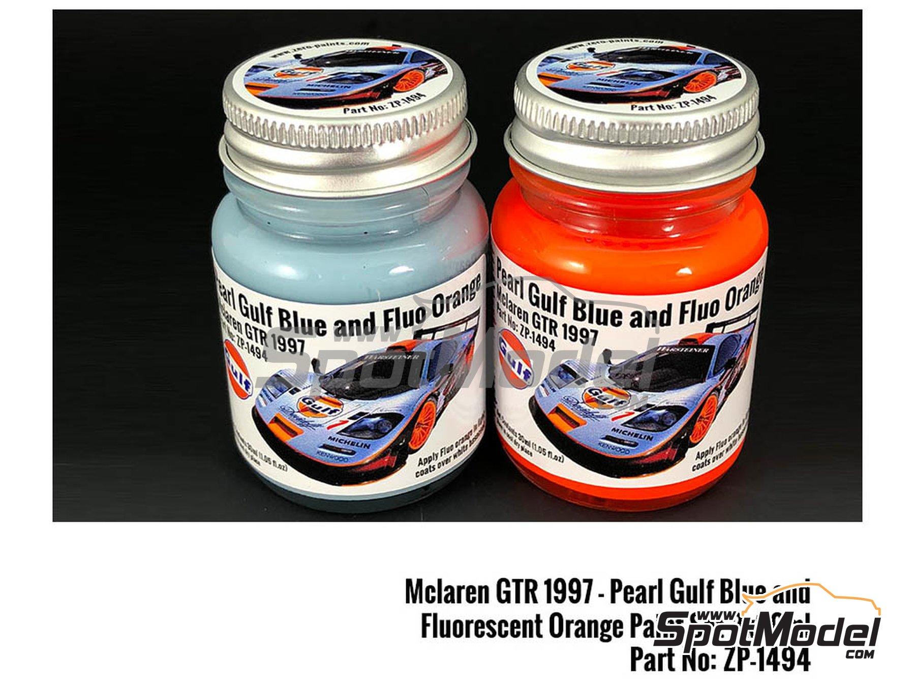 Image 1: Azul perlado y naranja fluorescente 1997 McLaren F1 GTR con decoración Gulf - 2 x 30ml   Set de pinturas fabricado por Zero Paints (ref.ZP-1494)