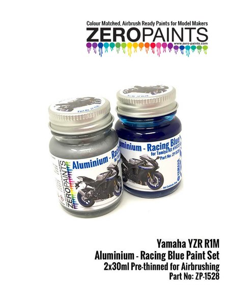 Yamaha YZR-R1M Aluminium and Racing Blue - 2 x 30ml | Paints set manufactured by Zero Paints (ref. ZP-1528) image