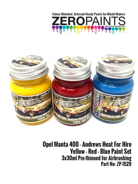 Amarillo, rojo y azul Andrews Heat for Hire - 3 x 30ml | Set de pinturas fabricado por Zero Paints (ref. ZP-1529) image