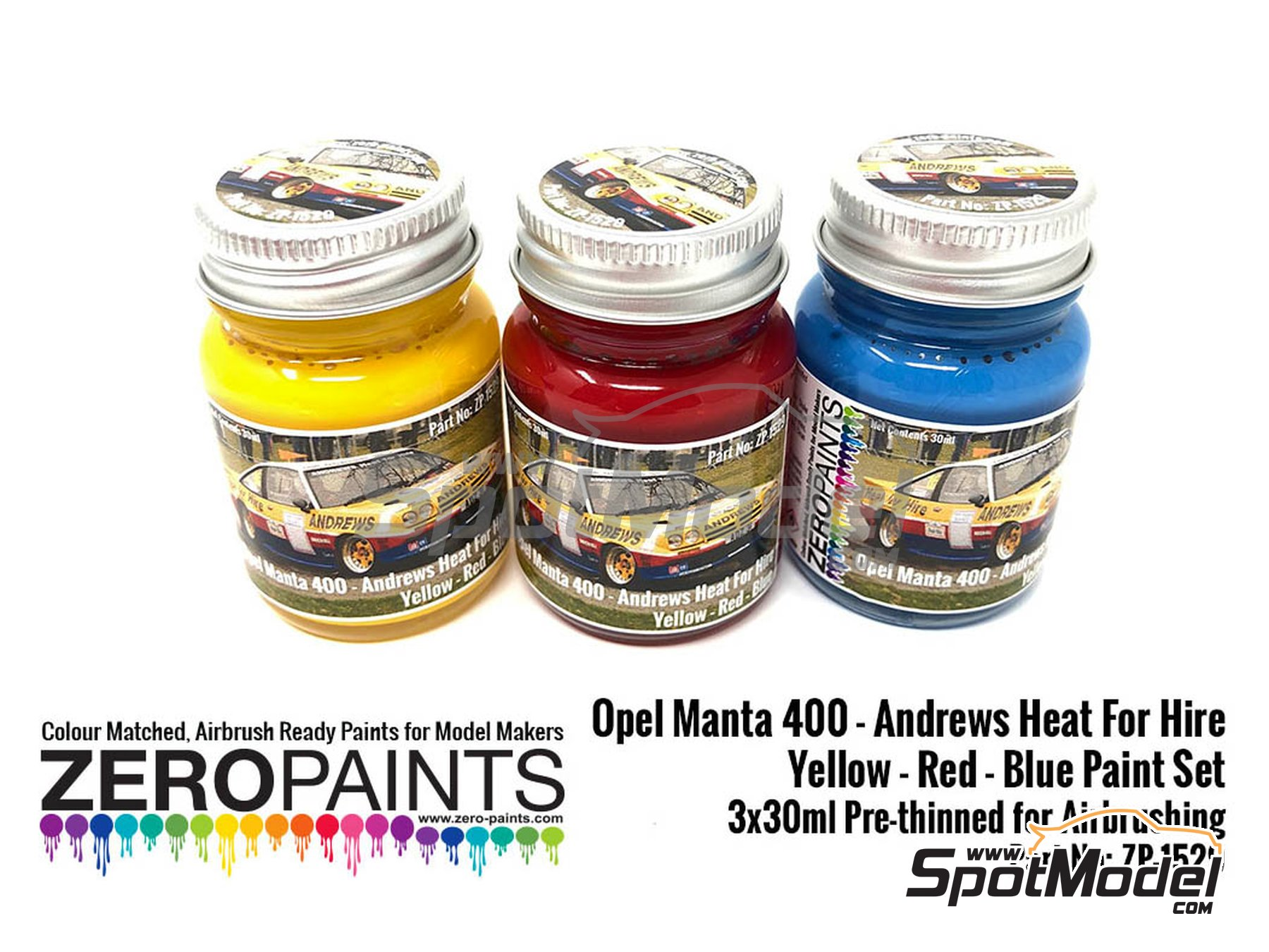 Image 1: Amarillo, rojo y azul Andrews Heat for Hire - 3 x 30ml | Set de pinturas fabricado por Zero Paints (ref. ZP-1529)