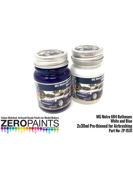Blanco y azul MG Metro 6R4 Computervision - 2 x 30ml | Set de pinturas fabricado por Zero Paints (ref. ZP-1530) image
