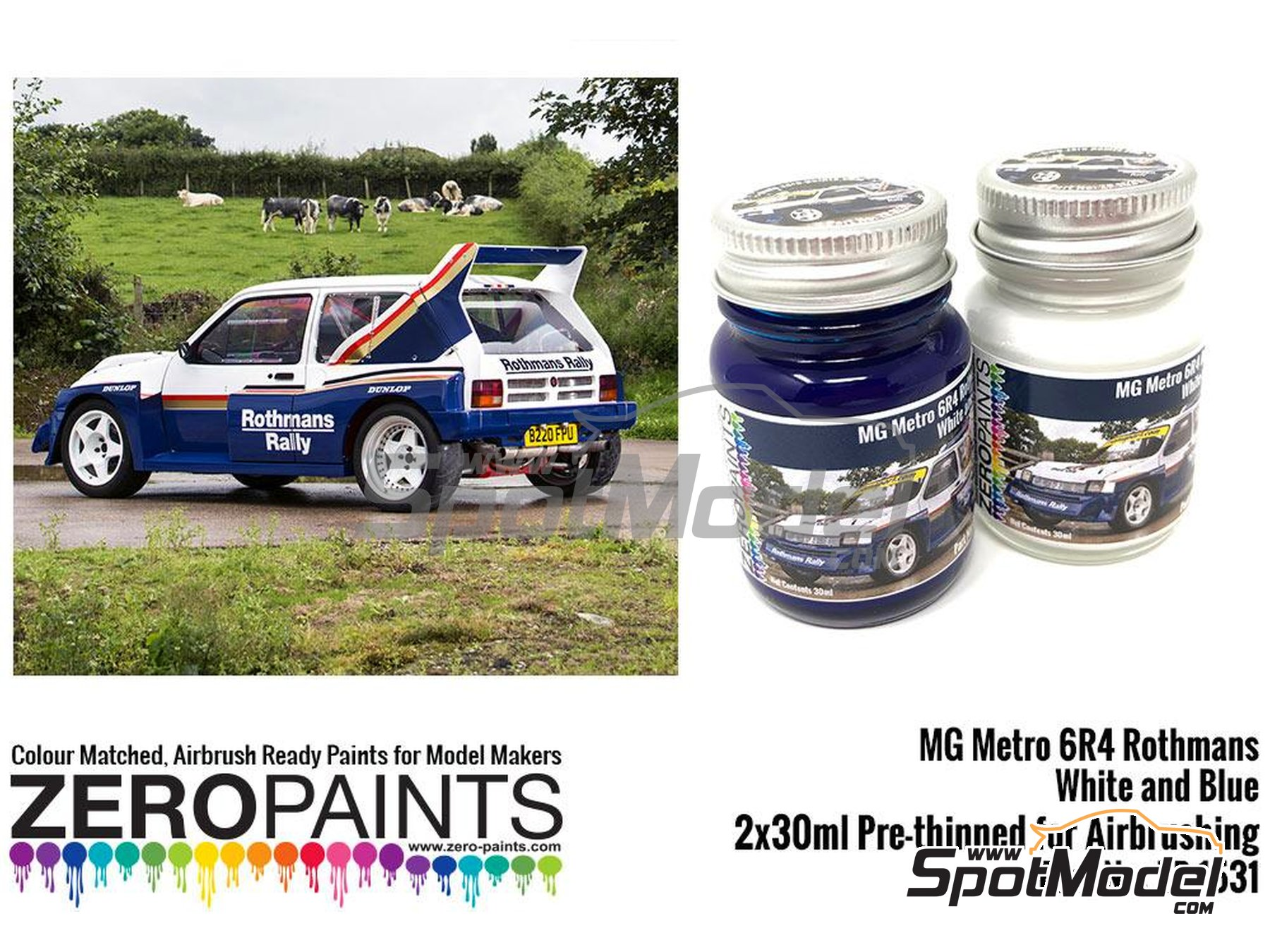 Image 1: Blanco y azul MG Metro 6R4 Computervision - 2 x 30ml | Set de pinturas fabricado por Zero Paints (ref. ZP-1530)