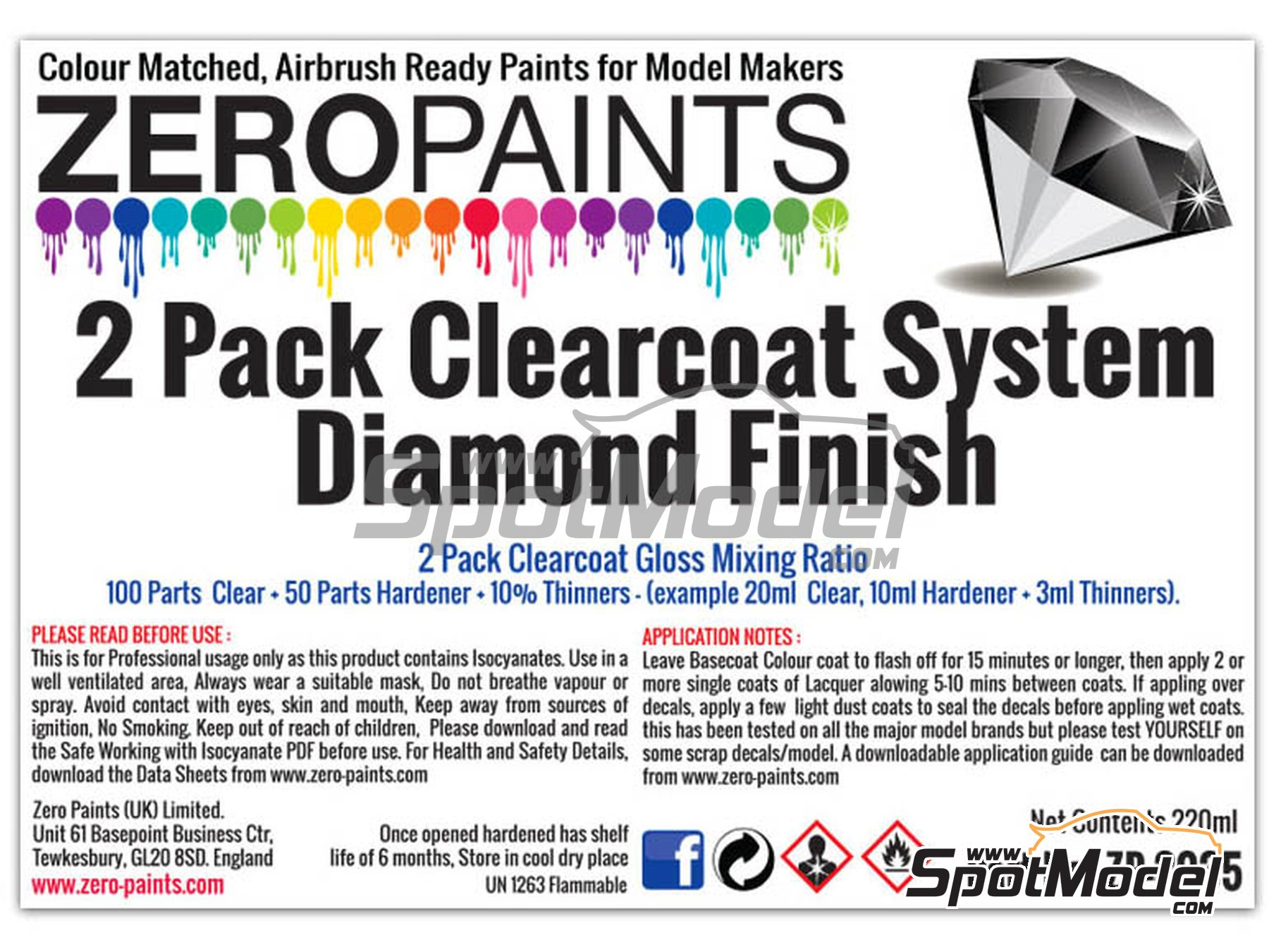 Image 3: Diamond Finish - 2 Pack GLOSS Clearcoat System - 2K Urethane | Barniz fabricado por Zero Paints (ref. ZP-3035)