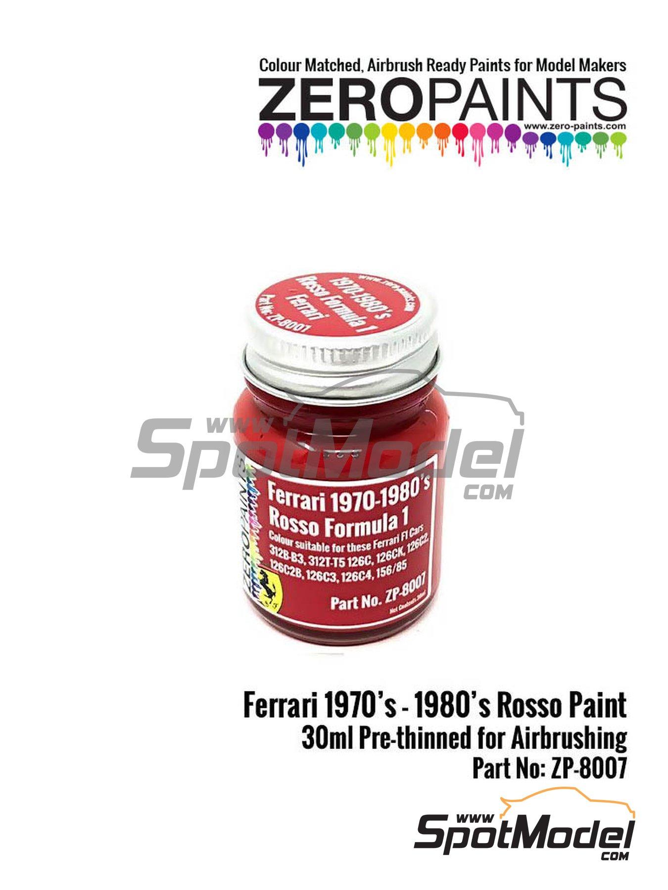 Rojo Ferrari F1 años 70 y 80 - Ferrari 1970s-80s rosso Formula1 - 1 x 30ml | Pintura fabricado por Zero Paints (ref.ZP-8007-F1-70-80) image
