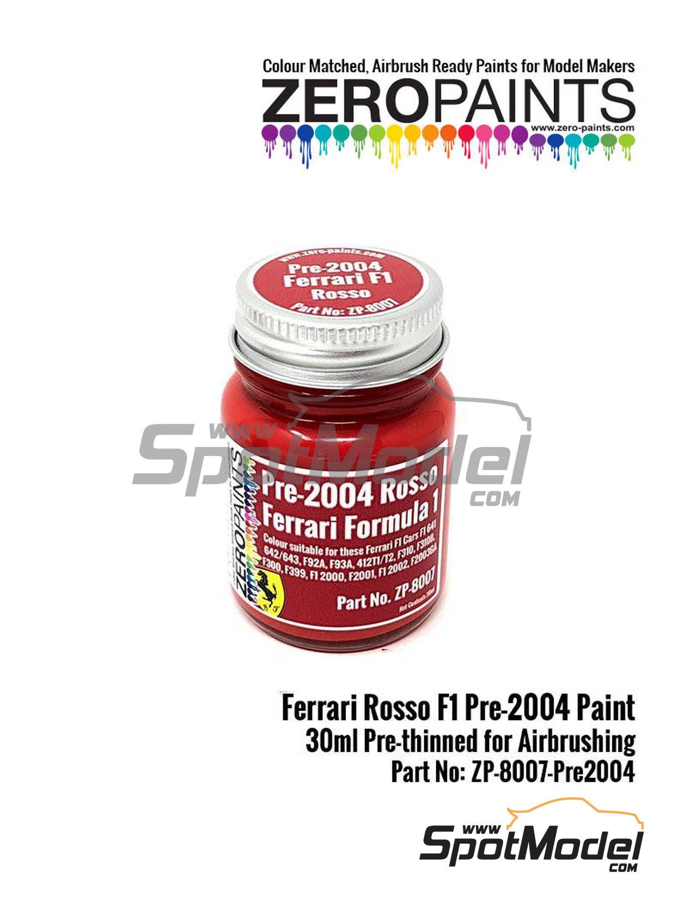 Rojo Ferrari F1 pre-2004 - Ferrari Rosso Formula1 Pre-2004 - 1 x 30ml | Pintura fabricado por Zero Paints (ref.ZP-8007-PRE-2004) image