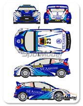 Calcas 1/24 Racing Decals 43 - Ford Fiesta WRC Seashore - Nº 23 - Abdulaziz Al-Kuwari + Killian Duffy - Rally de Cataluña 2013 para kit de Belkits BEL-003