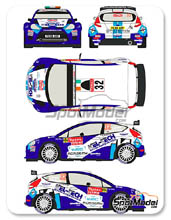 Calcas 1/24 Racing Decals 43 - Ford Fiesta S2000 Kel-Tech - Nº 32 - C. Breen + G. Roberts - Rally de Montecarlo 2012 para Kits de Belkit BEL-002