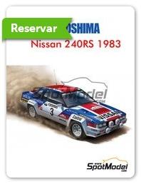 Aoshima: Maqueta de coche escala 1/24 - Nissan 240RS Nº 3 - Timo Salonen (FI) + Seppo Harjanne (FI) - Rally de Nueva Zelanda 1983 - maqueta de plástico