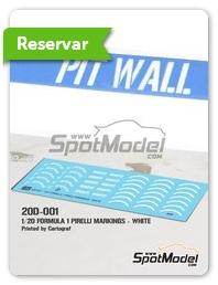 Pit Wall: Logotipos escala 1/20 - Pirelli P Zero Formula 1 blanco - calcas de agua