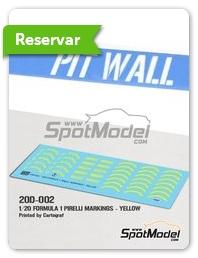 Pit Wall: Logotipos escala 1/20 - Pirelli P Zero Formula 1 amarillo - calcas de agua