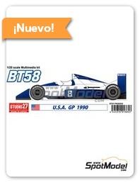 Studio27: Maqueta de coche escala 1/20 - Brabham Judd BT58 Nº 8 - Gran Premio de USA 1990 - piezas de resina, calcas de agua, piezas de metal blanco y manual de instrucciones