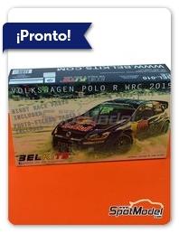 Belkits: Maqueta de coche escala 1/24 - Volkswagen Polo R WRC Nº 1 - Sébastien Ogier (FR) + Julien Ingrassia (FR) - Rally de Montecarlo 2015 - fotograbados, piezas de plástico, piezas de goma, calcas de agua y manual de instrucciones