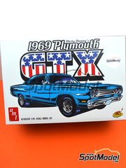 AMT: Model car kit 1/25 scale - Donny Plymouth GTX - Dirty Donny (US) 1969 - plastic parts, water slide decals and assembly instructions