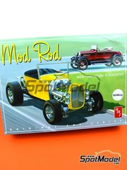 AMT: Model car kit 1/25 scale - Ford Model A Roadster Mod Rod 1929 - plastic parts, rubber parts, water slide decals, assembly instructions and painting instructions