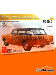 AMT: Model car kit 1/16 scale - Chevrolet Nomad Wagon 1955 - plastic parts, rubber parts, water slide decals, other materials, assembly instructions and painting instructions image
