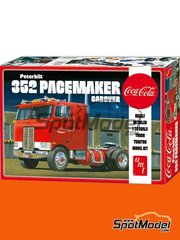 AMT: Model truck kit 1/25 scale - Peterbilt 352 Pacemaker Cabover Coca Cola - plastic parts, rubber parts, water slide decals, assembly instructions and painting instructions