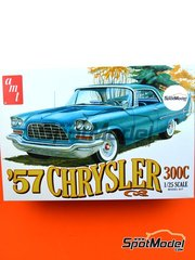 AMT: Model car kit 1/25 scale - Chrysler 300C 1957 - plastic parts, rubber parts, water slide decals, assembly instructions and painting instructions image
