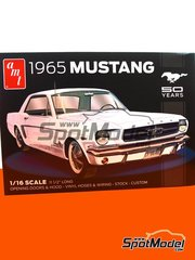 AMT: Model car kit 1/16 scale - Ford Mustang 1965 - metal parts, plastic parts, rubber parts, water slide decals, assembly instructions and painting instructions