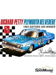 AMT: Model car kit 1/25 scale - Plymouth Belvedere Patterson Motors Inc. #43 - Richard Petty (US) - Daytona 500 miles 1964 - plastic parts, rubber parts, water slide decals, assembly instructions and painting instructions