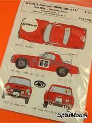 ARC Amazing Racing Cars: Decals 1/24 scale - Datsun Fairlady 2000 SR311 #66 - Hannu Mikkola (FI) + Anssi Järvi (FI) - Montecarlo Rally 1968 and 1968 - decals, photo-etch - for Fujimi kit