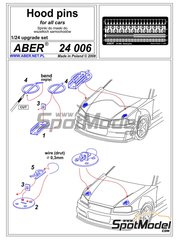 Aber: Detail 1/24 scale - Bonnet pins - photo-etched parts and assembly instructions