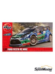 Airfix: Model car kit 1/32 scale - Ford Fiesta RS WRC - plastic parts, rubber parts, water slide decals and assembly instructions