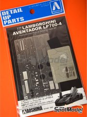 Aoshima: Detail up set 1/24 scale - Lamborghini Aventador LP700-4 - photo-etched parts, seatbelt fabric and other materials - for Aoshima kit 00142