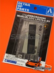 Aoshima: Detail up set 1/24 scale - Lamborghini Murcielago LP670-4 SV SuperVeloce - photo-etched parts, seatbelt fabric and other materials - for Aoshima kit AOSH-007082