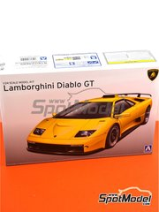 Aoshima: Model car kit 1/24 scale - Lamborghini Diablo GT - metal parts, paint masks, plastic parts, rubber parts, water slide decals and assembly instructions