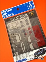Aoshima: Detail up set 1/24 scale - Lamborghini Sesto Elemento - photo-etched parts, seatbelt fabric and other materials - for Aoshima reference 01073
