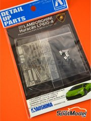 Aoshima: Detail up set 1/24 scale - Lamborghini Huracan LP610-4 - full colour photo-etched parts, photo-etched parts and turned metal parts - for Aoshima reference 01382 image