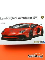 Aoshima: Model car kit 1/24 scale - Lamborghini Aventador LP750-4 SV - plastic parts, water slide decals and assembly instructions