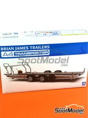 Aoshima: Model kit 1/24 scale - Brian James Trailers A4 transporter - plastic parts, rubber parts, water slide decals and assembly instructions